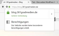 Seiten mit HTTPS werden als sichere Verbindung gekennzeichnet