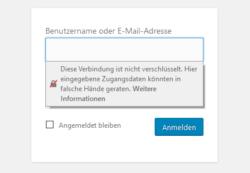 Diese Fehlermeldung wird im Firefox angezeigt, wenn man sich auf einer nicht SSL-verschlüsselten Seite einloggen möchte